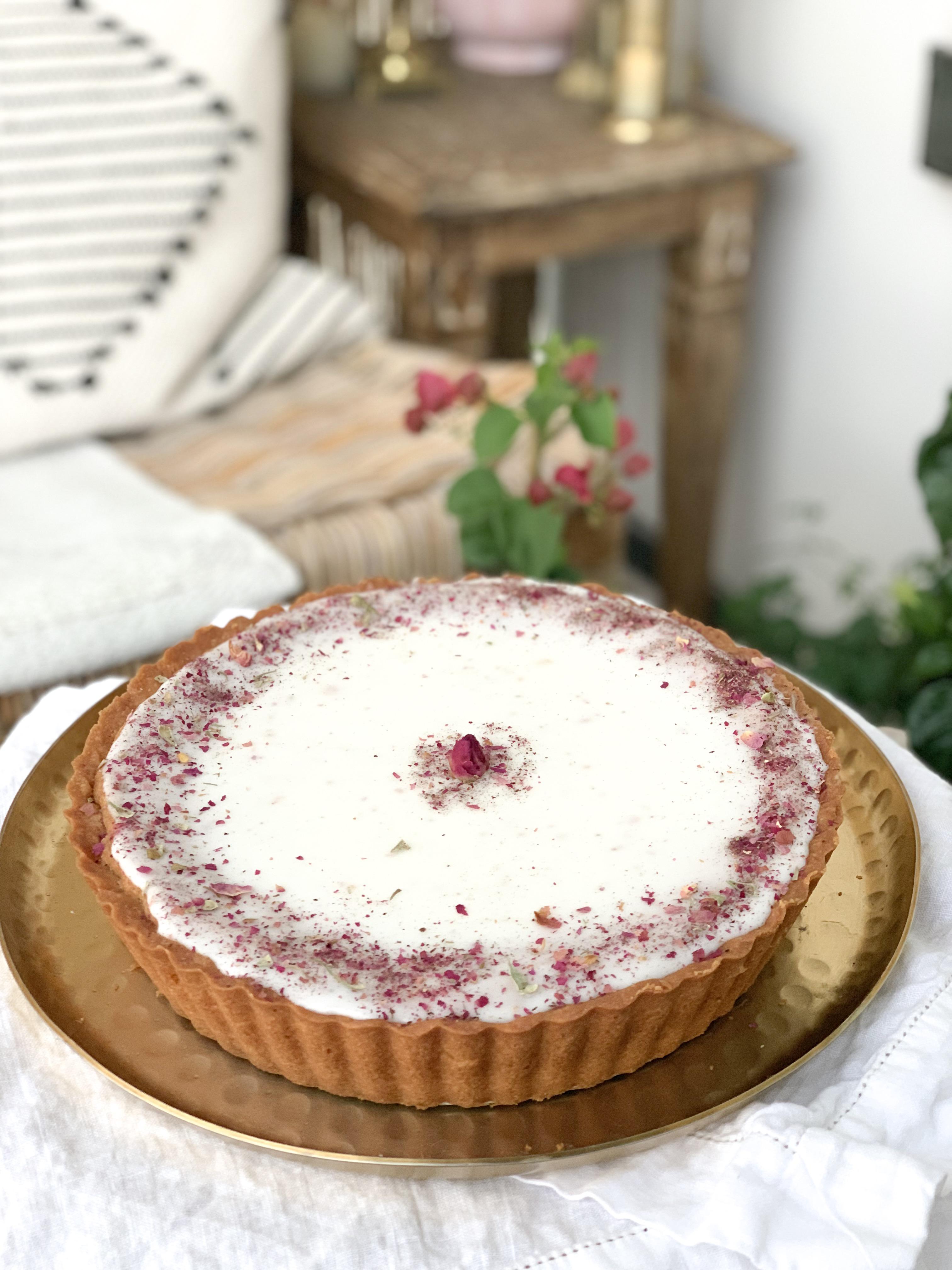 Strawberry Rose Bakewell Tart