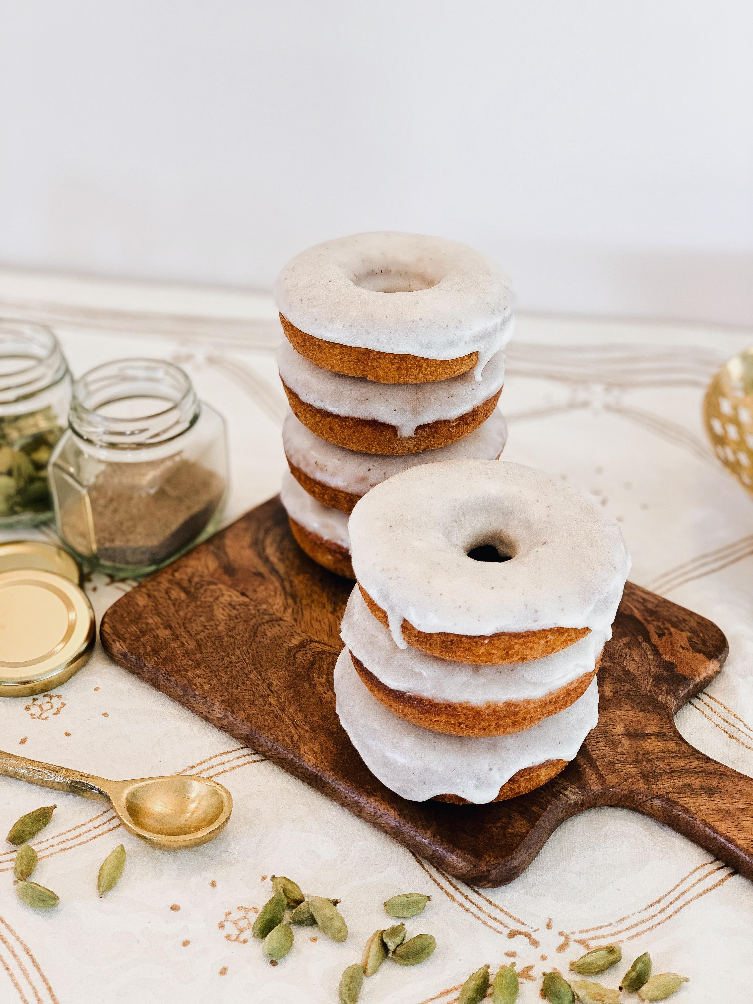 Baked Greek Yogurt Doughnuts with Cardamom and Vanilla